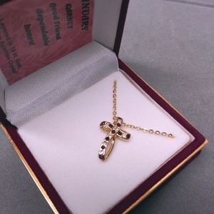 Austrian Crystal 18k Layered Cross Necklace